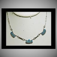 Super!!!   Delicate Zuni Needlepoint Turquoise Necklace in Sterling Silver