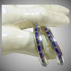 Sterling Silver  1/2 Hoop Earrings with Sugilite