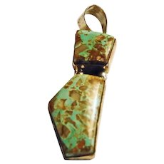Sterling Silver Green Turquoise Pendant with Quartz Inclusion