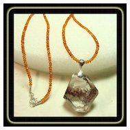Lodolite Pendant on Hessonite Garnet Necklace