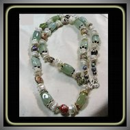 Necklace of Aqua, Cloisonne Beads, Keshi Pearls and Sterling Silver