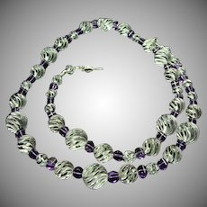 29 Inch Necklace of Natural Round Melon Crystals and Lantern Shape Amethyst Beads