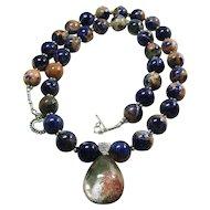Orange Sodalite Bead Necklace with Lodalite Pendant