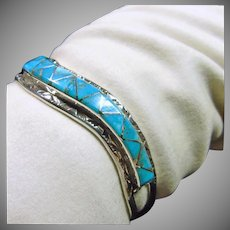 Zuni Sterling Silver Narrow Cuff Bracelet with Turquoise Inlay