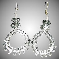 Triple A Natural Rock Crystal Hoop Earrings