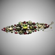 Austro-Hungarian Long Silver Bar Broach with Natural Pearls, Emeralds and Rhodolite Garnets