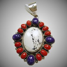 Sterling Silver Pendant with White Buffalo Turquoise Surrounded by Sugilite and Red Coral