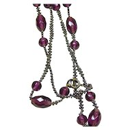 Victorian Cut-Steel and Amethyst Paste Muff Chain
