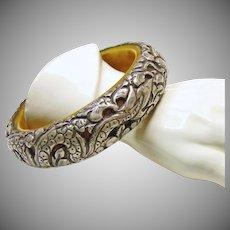 Tibetan Bone and Sterling Silver Cuff Bracelet