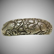 Tibetan Sterling on Bone Cuff Bracelet