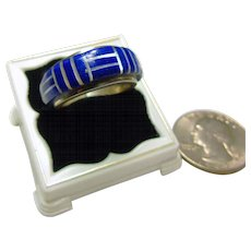 Sterling Silver Ring with Blue Lapis Inlay