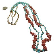 Double Strand Necklace of Turquoise, Shell Heishi,Red Coral and Jasper