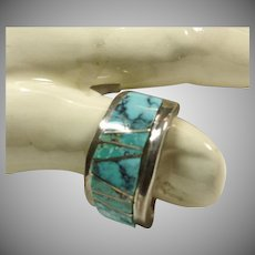 Sterling Silver Band Style Ring with Turquoise Inlay
