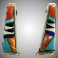 Sterling Silver Multi Stone Inlay Earrings
