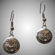 Tommie Secatero Round Drop Style Earrings in Sterling with14k Gold Overlay