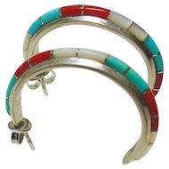 Sterling 3/4 Hoop Earrings with Stone on Metal Inlay