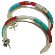 Sterling 3/4 Hoop Earrings with Stone on Metal Inlay - Red Tag Sale Item