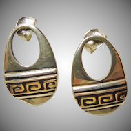 Navajo Sterling Silver and 14k Gold Earrings