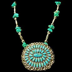 Necklace of Silver Beads and Turquoise with a Sterling Turquoise Cluster Pendant