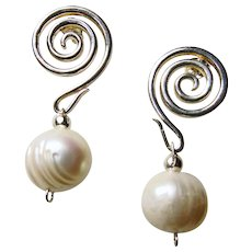 Sterling Silver Circular Swirl Earrings with Baroque Pearl Drop
