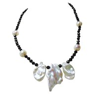 Black Spinel Bead Necklace with Freshwater Keishi and Baroque Pearls