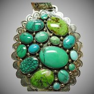 Large Sterling Silver Pendant with a Variety of Turquoise Cabochons