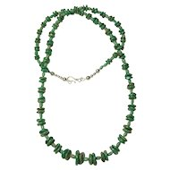 Necklace of Green Turquoise Rondelles Accented by Campitos Turquoise Beads