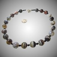 Botswana Agate and Black Spinel Necklace