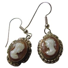 Shell Cameo in Sterling Silver Earrings with Marcasite Accents