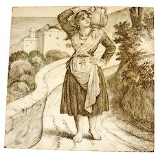 William Wise Country Life Tile ~ Girl with WINE 1882