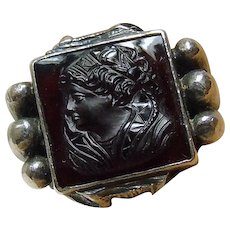 Arts & Craft Style Ring with Carnelian Intaglio of Elizabethan Woman