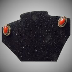 Small Red Coral Earrings