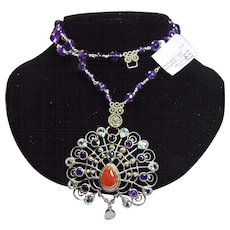 Peacock Pendant on Necklace of Amethyst and Sterling Silver