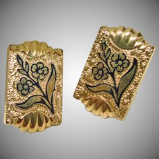 Victorian Cuff Links with Black Enamel Design