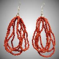 Red Coral Bead Earrings