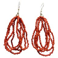 Red Coral Bead Earrings