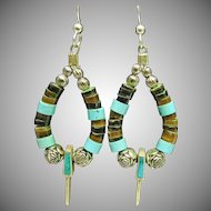 Drop Style Earring with Turquoise and Shell