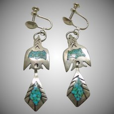 Sterling Silver Earrings with Chip Inlay