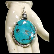 Wire Wrap Morenci Turquoise Pendant - Red Tag Sale Item