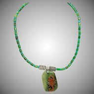 Hand Carved Agate Scorpion Pendant on Necklace of 2 Color Turquoise