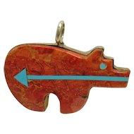 Native American Heart Line Bear Pendant