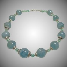 Aquamarine and Blue Zircon Bead Necklace