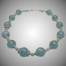 Aquamarine and Blue Zircon Bead Necklace