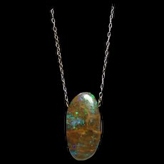 Boulder Matrix Opal In Sterling Silver Chain