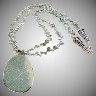 Druzy Agate Pendant on a Necklace of Silver Color Keishi Pearls