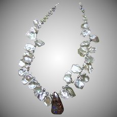 Necklace of Bright Silver Keishi Pearls and Australian Boulder Opal Pendant