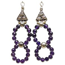 Amethyst Beads and Sterling Silver Earrings