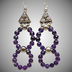 Super!!!!  Amethyst Beads and Sterling Silver Earrings