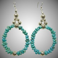Turquoise and Sterling Bench Bead Large Hoop Earrings