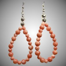 Angel Skin Coral and Sterling Silver Earrings